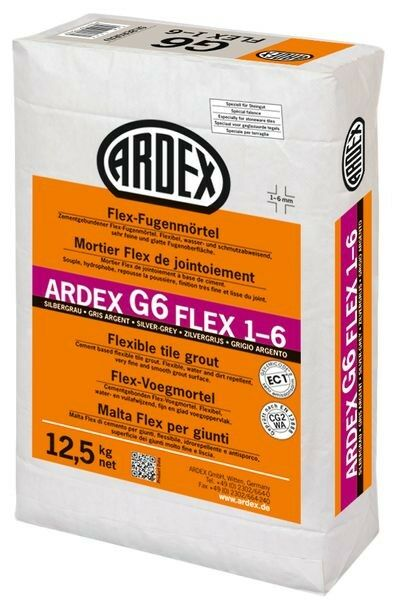 ARDEX G6 Flex-Fugenmörtel 1-6 mm 12,5 kg - silbergrau