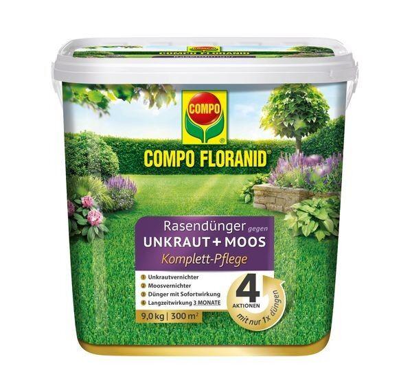 COMPO FLORANID® Rasendünger gegen Unkraut + Moos Komplettpflege 9 kg